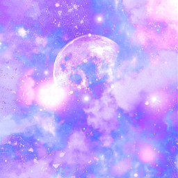 freetoedit glitter sparkle galaxy sky stars moon clouds pink purple pastel cute girly kawaii space universe cosmos paintsplatter art wallpaper background overlay