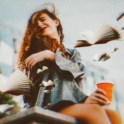 books girl girls happy picsart heypicsart awesome freetoedit srcflyingbooks flyingbooks