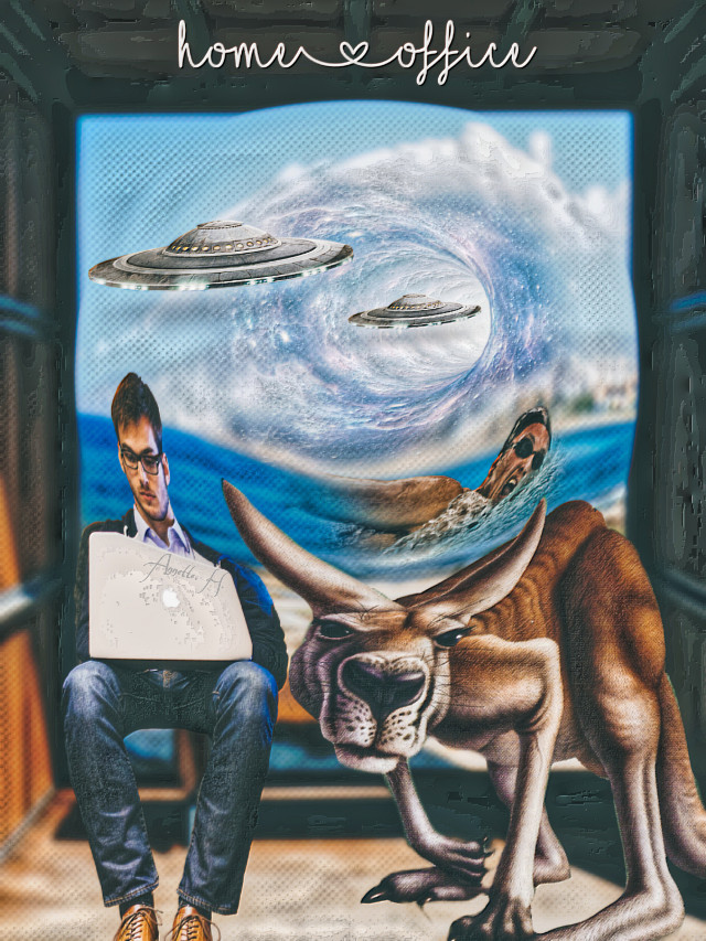 #everything is possible#homeoffice#workingman#laptop #kangaroo#swimmer#blackhole#ufos#OP background pixabay