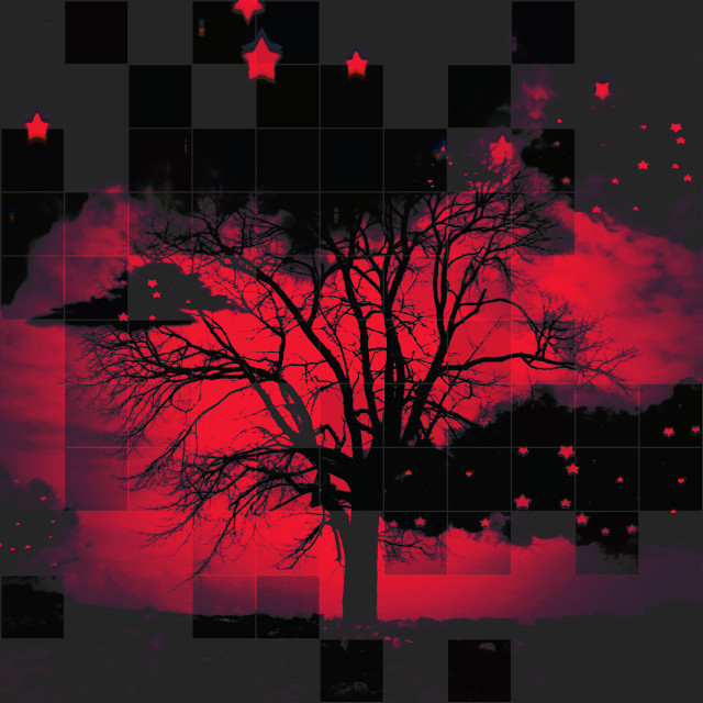 #blackclouds #dark #red #tree #silhouette #challenge #vote4me #thankyou #stars #checkered #picsart #challenge #knowskilz #interesting #wallpapers #background #art #abstract