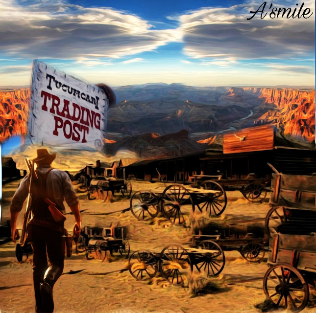 #@asweetsmile1 #background #blendedimages #blend #creative #creativeart #wildwildwest #cowboy #trailer #sky