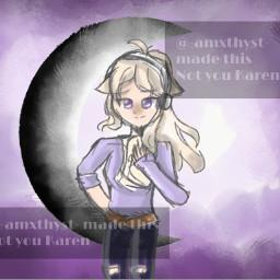 drawing art purple moon oc