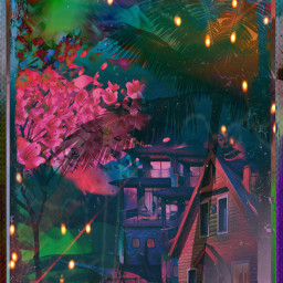 house woods lights trees effects lightbright palmtrees cherryblossompetals dark darknight sky skylovers nighttimesky scary spookyeffects borders neighborhood nature art photography party vipshoutout picsart christina awersome freetoedit