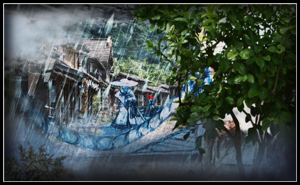 #samurai #showdown #rain #tree #village #japanese #art #interesting #abstract #surreal #fog #knowskilz #dark #blood #splash #wallpaper #backgrounds #border #picsart #illustration