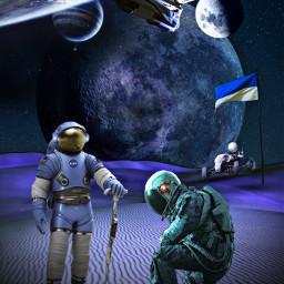 freetoedit space spaceship cosmos cosmonaut planets flag esapce night sky drapeau blue bleu fusee