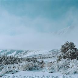 winter landscape snow clouds mountains freetoedit