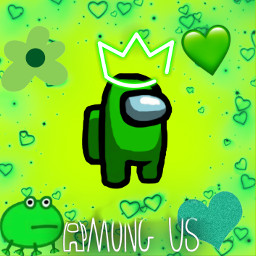 amongus among us green greenamongus greenheart heart frog greenfrog flower greenflower crown greencrown freetoedit