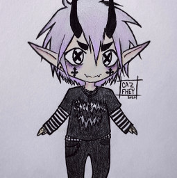 freetoedit cazfhey pastel pastelhair pastelgoth pastelboy purplehair kawaii chibi art drawing outfit imp oni horns anime animeboy spooky creepycute demon demonboy streetgoth silverhair sketch doodle
