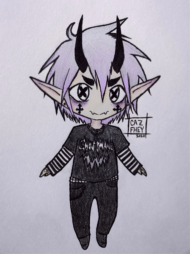 ✖️💜⛓ Pastel Goth Imp ⛓💜✖️ - A drawing of this look I made & will do myself when it's ready! 😈🖤 - instagram: cazfhey - #cazfhey #pastel #pastelhair #pastelgoth #pastelboy #purplehair #kawaii #chibi #art #drawing #outfit #imp #oni #horns #anime #animeboy #spooky #creepycute #demon #demonboy #streetgoth #silverhair #sketch #doodle