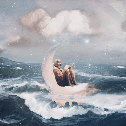 freetoedit fantasy surrealism art ocean moon day night clouds girl goingwiththeflow be_creative prose