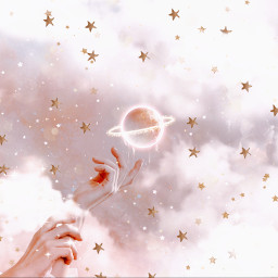 beauty fantasy sparkles clouds star stars pink moon sky hands myedit dream dreamy pretty girl magic magical planet light ring freetoedit