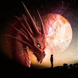 fantasy dragon magical surreal moon silhouette myedit madewithpicsart freetoedit