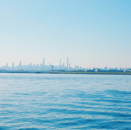 freetoedit panoramic city skyline coastline skyscrapers ny addboats shoreline blue sky aakash panorama ciudad cittá america