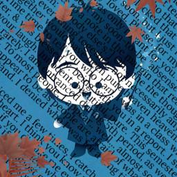 harry potter lettres feuilles lunette bleu freetoedit