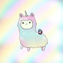 llama among us amongus aesthetic pastel cute pretty magical fluffy llamacorn fantasy matching freetoedit