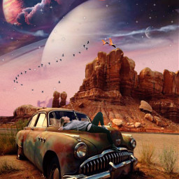 wilderness oldcar planets stars birds space woman clouds freetoedit