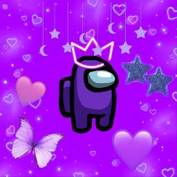 amongus among us purple purpleamongus heart hearts purpleheart butterfly purplebutterfly star purplestar moon moons darkpurple litepurple freetoedit