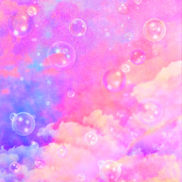 freetoedit glitter sparkle galaxy sky pink pastel clouds bubbles stars colorful art painting cute kawaii pattern overlay background wallpaper