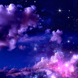 mypic edited sky night stars pink clouds remixit freetoedit