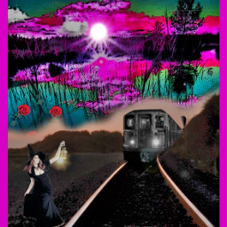 womaninthenight moonlight train smalltown aloneinthedark darkstreets beststreets funinthedark scary spooky halloween 2020 picsart interesting art night nature people london france italy colorsplash coloreffects efffects nightime freetoedit