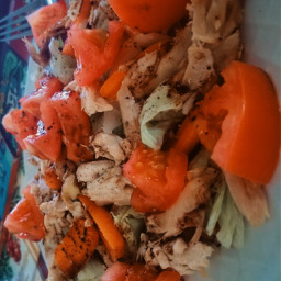 food salad tomatoes chicken balsamicdressing