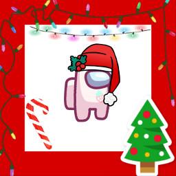 christmas christmasspirit christmastree candycane amongus lights christmaslights hat santahat red white pink freetoedit