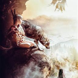 freetoedit wolf girls mountain beautifull dreamcatcher lonelygirls anvengers dangers cloudscape mist wallpalper remix freetoedit.