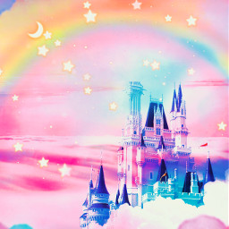 freetoedit glitter sparkle galaxy sky castle clouds stars rainbow magical pastel pink dream heaven love art cute background wallpaper overlay