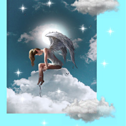 angel fantasy imagination myedit myart mystyle makeawesome cloud space heaven star creative diversity freetoedit