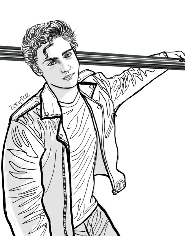 Joshua T. Bassett 🖤🌿 #outline #outlineart #drawing #sketch #colorme #celebrity #portrait #art #illustration #heartthrob #joshuabassett #linedrawing #freetoedit