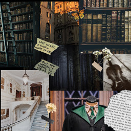 darkacademia aethstic harrypotter scrapbook books slytherin slytherinaesthetic freetoedit