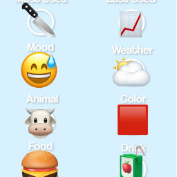 emojis life food drinks animal knife color hobbies singing softball freetoedit