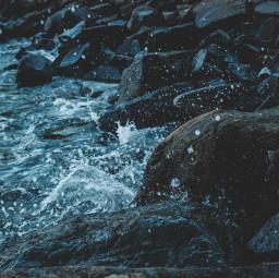 freetoedit water splash watersplash rocks blue myphoto aqua gotas coast shoreline