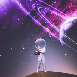 astronaut galaxy bubbles sand planet remixit freetoedit