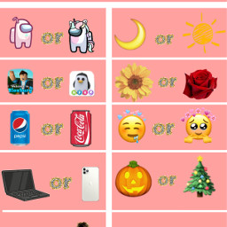 thisorthat thisorthattemplate fillin questions pinkone amongus roblox cocacola pepsi adoptme bloxburg laptop iphone iphone11 strangerthings harrypotter night day sunflower rose emojis halloween christmas masks quarantine freetoedit