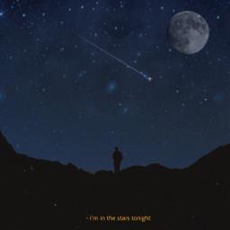 moon night stars midnight black dark darkblue freetoedit