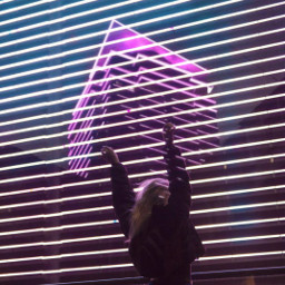 neon light city girl skyscraper freetoedit