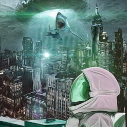 picsart fantasy art surreal beautifuledit amazing astronaut hai myedit city green remixit remixed freetoedit
