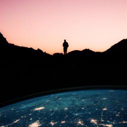 upsidedown earth silhouette alone galaxy stars freetoedit unsplash