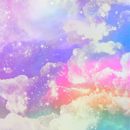 freetoedit gitter sparkle galaxy sky stars moon rainbow prism lights shimmer pastel cute girly cosmos nature landscape wallpaper background overlay