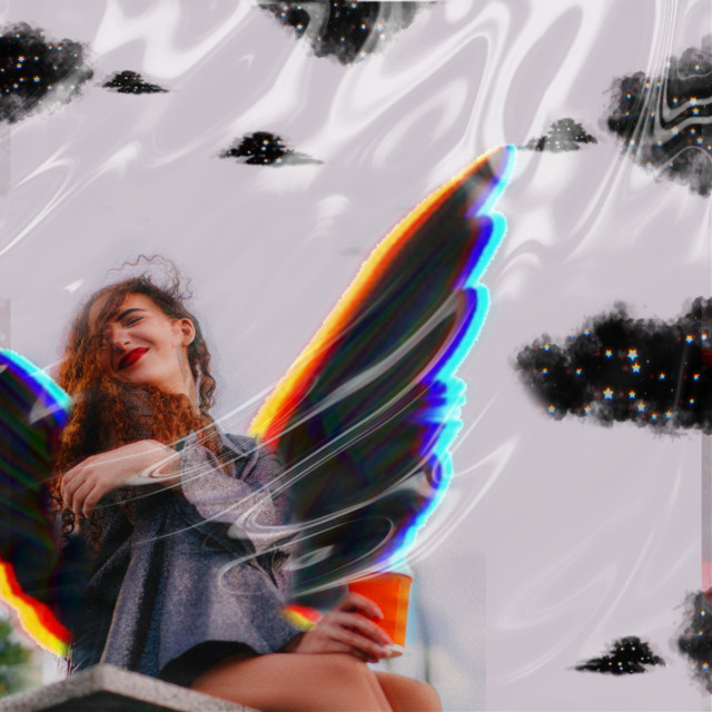 #replay #picsartreplay #makeawesome  #angel #wings #clouds #blackclouds #poparteffect