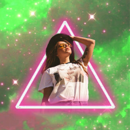 aesthetic girl sky nubes cielo neon green rosa glitter brillo glow sunglasses heypicsart makeawesome freetoedit