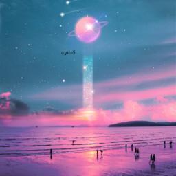 spaceart space galaxy planets shootingstars freetoedit