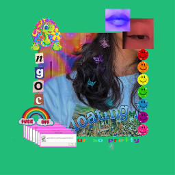 green butterflyclips indie aesthetic rock chaotic rainbow pride hair alternative freetoedit