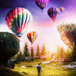 visualart hotairballoons walk man scenery sky purple gradiant trees imagination creative bright manipulation sunset land awesome picsart freetoedit varunarts