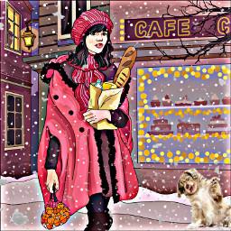 snowing snow dog begging puppy sitting petsandanimals walking parka lady girl woman winter oranges stores bakery bread hat scarf brunette art cartoon bright lights hdreffect freetoedit