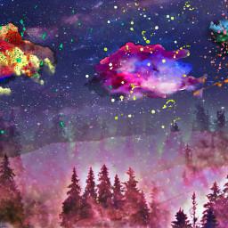 better betterreality beautiful night woods paint rainbow colorful stars freetoedit ecimagineabrighterreality imagineabrighterreality