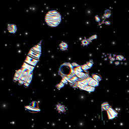 glitchystars space astronaut rocketship night universe astrology planet freetoedit