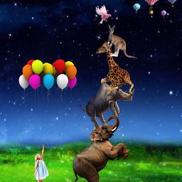 pyramid balloons fantasy art freetoedit