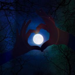 moon dark night heart sparkle freetoedit